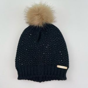 Bebe Black Beaded Hat Beanie Faux Fur Pm Pom